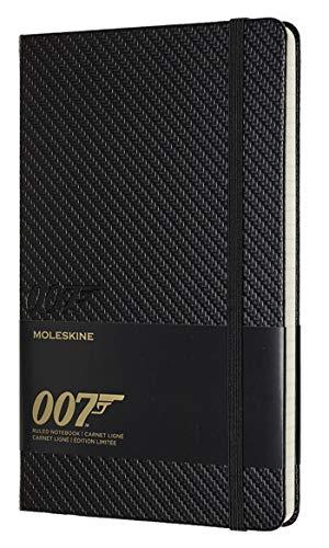 Moleskine Taccuino James Bond 007 in Edizione Limitata, Notebook a Righe con Grafiche e Dettagli a Tema Carbone, Copertina Rigida, Formato Large 13 x 21 cm, Colore Nero, 240 Pagine