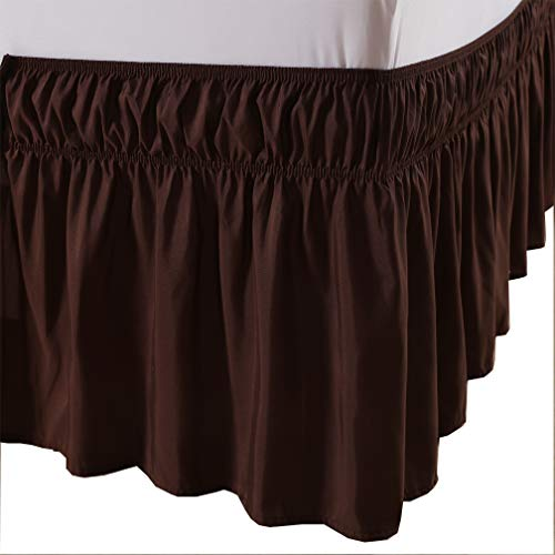 MEILA Bed Skirt Three Fabric Sides Elastic Wrap Around Dust Ruffled Solid Bed Skirts Easy On/Easy Off 16 Inch Tailored Drop, Brown, Queen/King