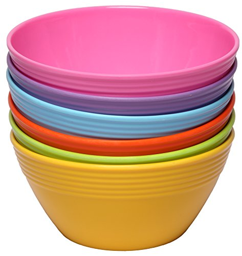 Melange 6-Piece Melamine Bowl Set (Solids Collection ) | Shatter-Proof and Chip-Resistant Melamine Bowls | Color: Multicolor