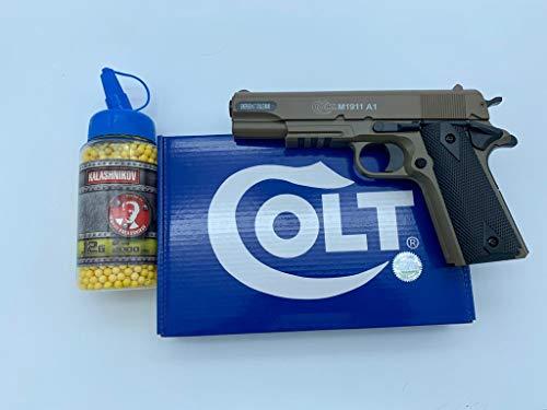 valhalla Airsoft CyberGun - Pistola para Airsoft Colt 1911, Culata de Metal con Muelle, Botella de balines de 0,12 g de Regalo, Fuerzas Especiales, SWAT o Cosplay, Potencia de 0,5 Julios