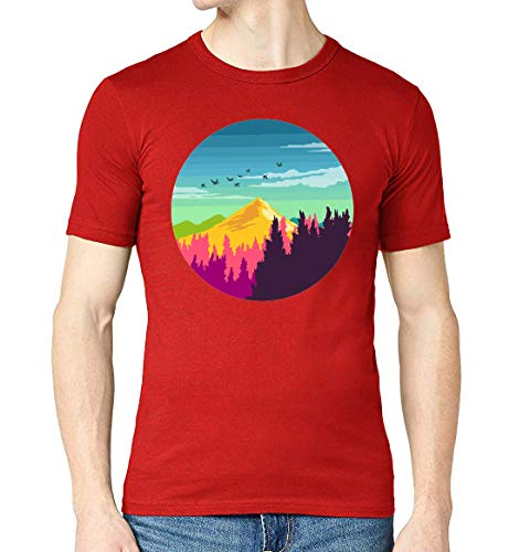 Abstract Nature Mountain Circle Graphic Crew Neck T-Shirt voor heren