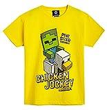 Minecraft Camiseta Niño, Ropa Niño Algodón 100%, Camisetas de Manga Corta con Diseño Chicken Jockey, Merchandising Oficial, Regalos para Niños y Adolescentes (7-8 años)