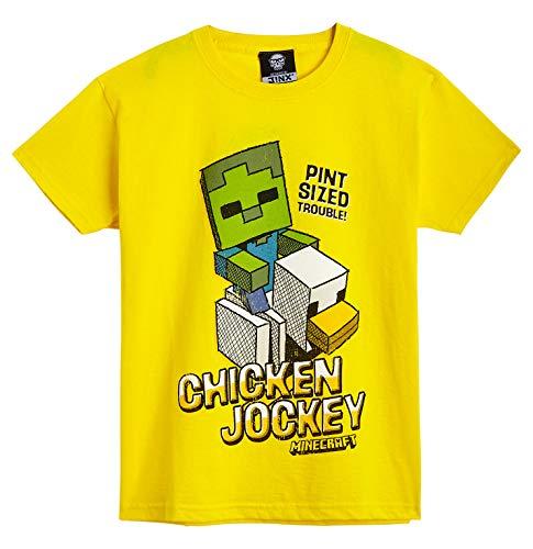 Minecraft Camiseta Niño, Ropa Niño Algodón 100%, Camisetas de Manga Corta con Diseño Chicken Jockey, Merchandising Oficial, Regalos para Niños y Adolescentes (11-12 años)