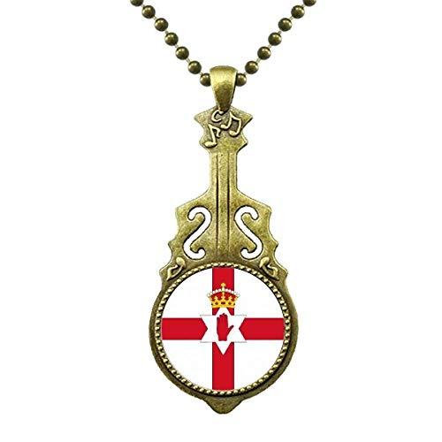 Nordirland Land der nationalen Flagge Europa Halskette Antiker Gitarrenschmuck Musikanhänger