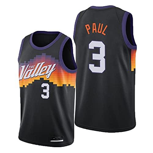 Jersey di Pallacanestro NBA Phoenix Suns # 3 Chris Paul Jersey Ricamato, Sportivo da Pallacanestro Uniforme Maglietta Senza Maniche Maglia Sportiva Sportiva Unisex Fan Uniforme,Nero,XL