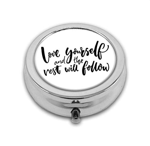 Love Yourself and The Rest Will Follow Motivational Phrase Wisdom Words Zen Custom Round Silver Pill Box Pocket 2.1