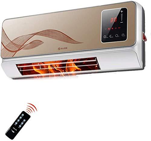 RENXR Calentador con Control Remoto,Pequeño Calentador Cerámico De Pared, Pantalla Digital, Termostato Automático, Hogar, Oficina,Impermeable, 220V2000W