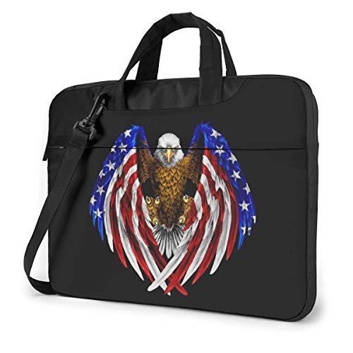 15.6 inch Laptop Shoulder Briefcase Messenger Bald Eagle Patriotic American Flag Sticker Tablet Bussiness Carrying Handbag Case Sleeve