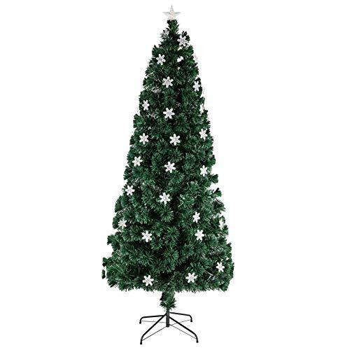 GRZHJK Hinged Christmas Tree with Snowflake,Artificial Christmas Tree with Solid Metal Stand,6FT Small Light Fiber Optic Xmas Tree
