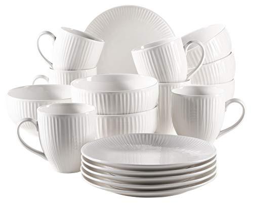 MÄSER Serie Dalia Frühstücksset für 6 Personen aus Hotelporzellan, 18-teiliges Geschirr Set in zeitlosem Vintage Design, Weiß, Porzellan