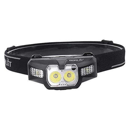F Fityle Linterna Frontal con Sensor de Movimiento Recargable por USB, LED Blancos Y Rojos, con 5 Modos de Iluminación, IPX4 a Prueba de Agua Y Linterna Antica