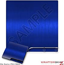 Sony PS3 Slim Decal Style Skin - Brushed Metal Blue