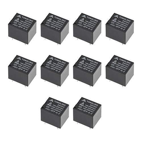 10 unidades JQC-3FF-S-Z SPDT DC 24V bobina SPDT 5P PCB relé de potencia electromagnética