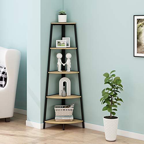 HOMYSHOPY Industrial Corner Shelves, Metal Frame Corner Bookcases and Book Shelves 5 Shelf, A-Shaped Ladder Shelf Plant Stand for Home Decor, Oak Finish