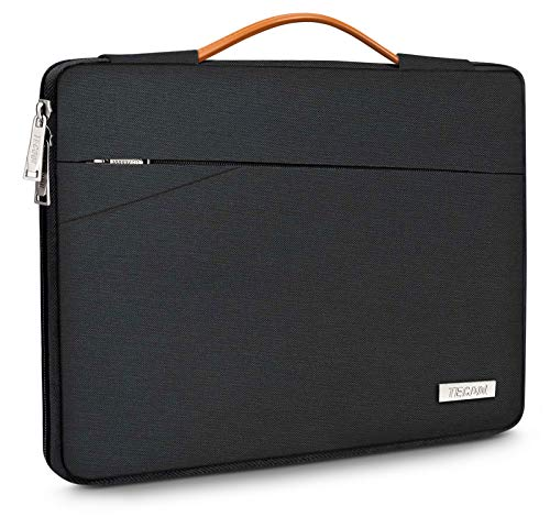 TECOOL 15-15.6 Inch Laptop Sleeve Protective Case Cover with Handle and Pockets for Acer ASUS HP Lenovo Dell Samsung Toshiba Notebook Chromebook Water-resistant Computer Bag, Black