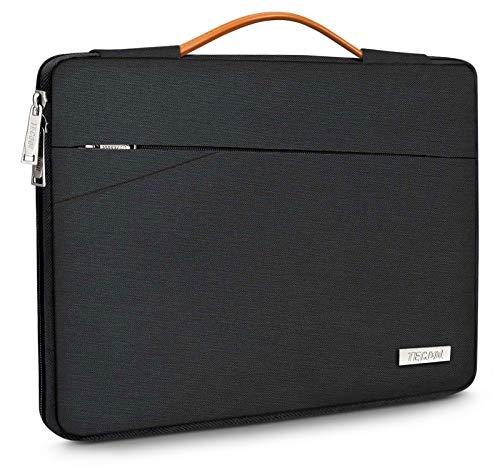 TECOOL Housse pour Ordinateur Portable, Serviette de Protection Sacoche avec poignée pour 14 Pouces PC Netbook Chromebook Huawei Lenovo Thinkpad Dell HP Acer ASUS, Noir