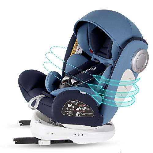 Bonio Kindersitz 360 ° Drehbar Baby Autositz Gruppe 0+/1/2/3 (0-12 Jahre alt) ISOFIX und LATCH Schnittstelle mit Seitenschutz für Babys 0-36kg (Blau)