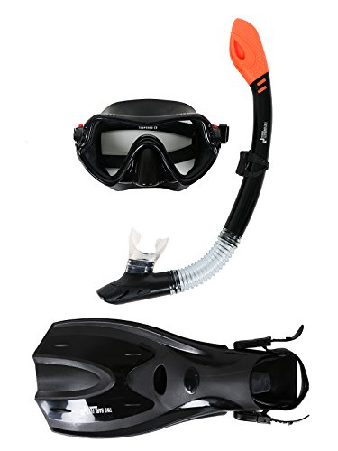 Two Bare Feet Adult Silicone Dry Top Snorkel, Silicone Mask & F70 fins Set (Black)