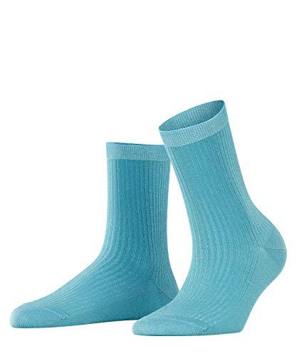FALKE Damen Socken Shiny Rib, Baumwolle Polyamid, 1 Paar, Blau (Oriental Blue 6652), 39-42 (UK 5.5-8 Ι US 8-10.5)