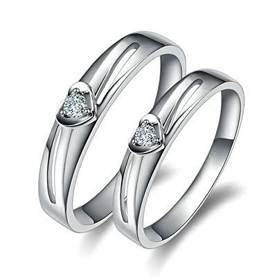 Bishilin Anillo de Pareja 750 Anillo de Compromiso, Corazón 0.07 Diamante Aniversario de Bandas de Anillo de Compromiso Ajuste Cómodo Regalos para Cumpleaños Fiesta de Navidad Plata