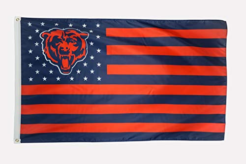 WHGJ Fans Flag for NFL Chicago Bear 3x5 FT Large Funny Bears Stars and Stripes Indoor/Outdoor Sports Banner