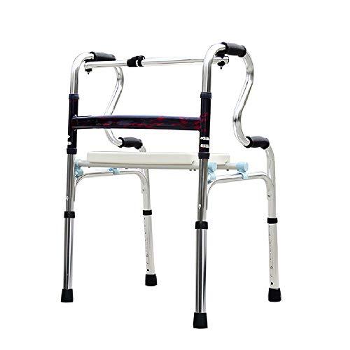 Hyxqyzbq Oudere loophulp, opvouwbare rollator, hoog verstelbaar, draagbaar, antislip, geschikt voor ouderen en gehandicapten, kussens + 2 wielen, lichtgewicht aluminiumlegering + + +
