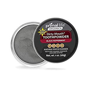 Dirty Mouth Organic Toothpowder – #1 Rated Best All Natural Dental Cleanser -Gently Polishes. Teeth Feel Cleaner, Stronger and Whiter Teeth – Better Than Toothpaste – Primal Life Organics