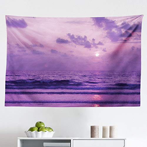 Lunarable Ocean Tapestry, Mystic View Sunset Over Tranquil Sea with Small Waves Moving to The Shore, Fabric Wall Hanging Decor for Bedroom Living Room Dorm, 45' X 30', Lavender and Lilac