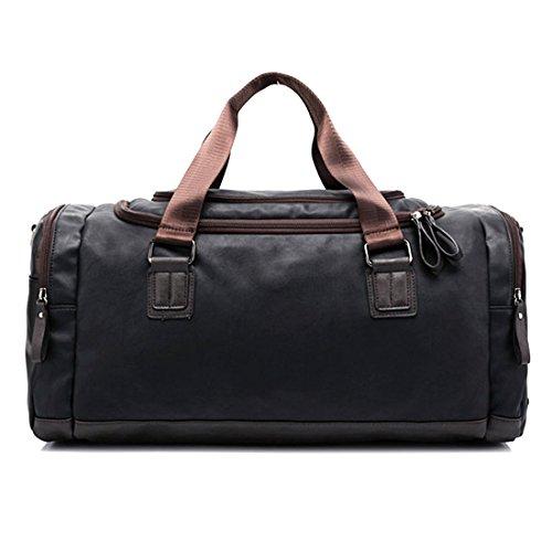 TXXCI Große Kapazität PU-Leder Retro Gym Reisetasche Sport-Schultertaschen Handtasche 55 * 29 * 25 cm - Schwarz
