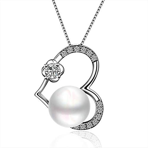 Bishilin Jewelry Heart Shape with Pearl Pendant Necklaces Silver Plated Silver Necklace for Women Jewelry Gift