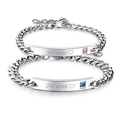 Flongo 2PCS Bracelets Acier Inoxydable Je T'Aime Chaînes de Main pour Couples Amoureux Femme Homme Couleur Argent Cadeaux Romantiques Saint Valentin Mariage