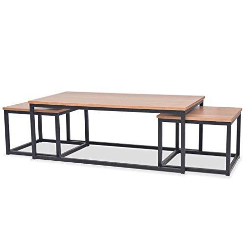 Festnight 3 pcs Table Basse Gigogne en Bois de Frêne Style Industriel pour Salon