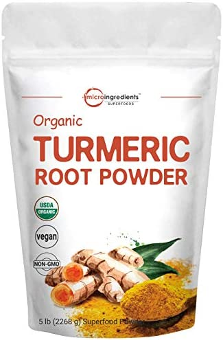 Organic Turmeric Root Powder 5 Pounds 80 Ounce Pure Turmeric Supplement Contains Active Curcumin product image