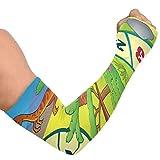 Manchons de bras pour femmes Jeu de société avec thème dinosaure 1 Eps10 Vector Il Uv Manchons de bras de refroidissement en cours d'exécution Manchons de bras en soie glacée Couverture de bras unise
