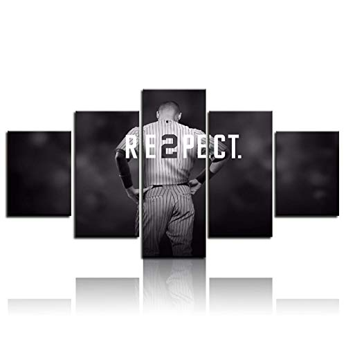 Large Wall Art 5 Pieces Derek Jeter Baseball Sports Poster Canvas Printed Poster Wall Art Modern Home Decor Pictures Canvas Painting Wall Decor