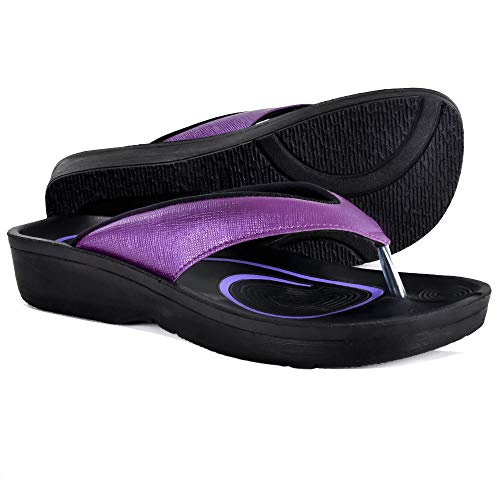AEROTHOTIC Women's Comfortable Orthotic Flip-Flops Sandal (US Women 8, Matt Purple)
