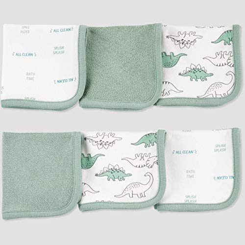 Just One You Made by carter's Baby Boys' Dino Washcloth Set in Green