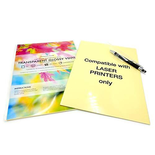 Lot de 20feuilles A4imperméables et transparentes en vinyle brillant adhésif, imprimable au laser