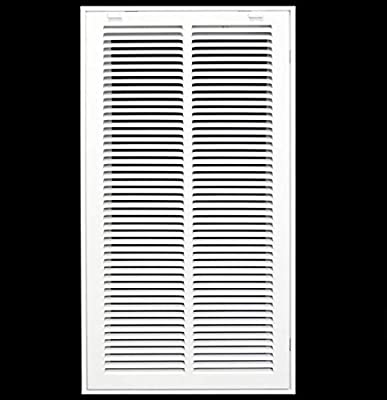 """12"""" X 24"""" Steel Return Air Filter Grille for 1"""" Filter - Removable Face/Door - HVAC Duct Cover - Flat Stamped Face -White [Outer Dimensions: 13.75w X 25.75h]"""