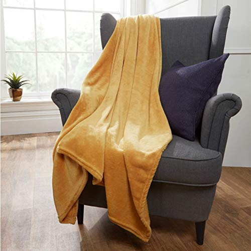 Brentfords Colcha Ultra Manta de 100% Franela de poliéster Muy Suave, Color Ocre Mostaza, Cama Doble, 150 x 200 cm