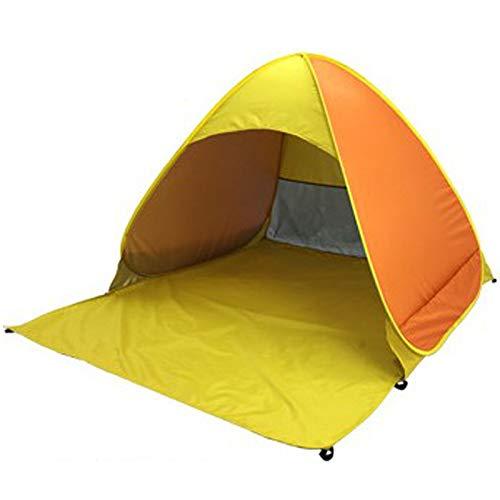 PQZATX Tente de Plage Ultra LéGèRe Tente Pliante -Up Automatique Tente Ouverte Famil Le Voyage Poisson Camping Anti-UV Parasol Complet Orange et Jaune