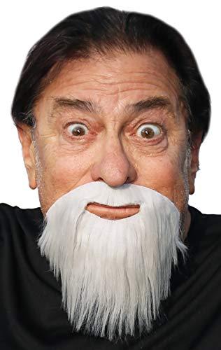 Realistic Extended GoateeFake Full Circle Beard, Novelty Costume Beard (GreyWhite)