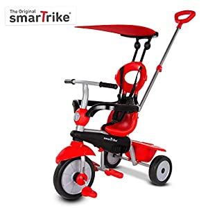 smarTrike Zoom Toddler Tricycle for 1,2,3 Year Olds - 4 in 1 Multi-Stage Trike, Red -