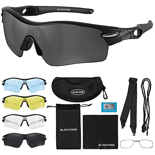 Occhiali da ciclismo con 4 lenti intercambiabili | Protezione UV | Occhiali da sole sportivi polarizzati | Telaio infrangibile TR90 | Ultraleggero