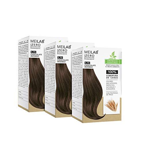 MEILAB | Permanente Haarfarbe ohne Ammoniak - 3er Pack - Schokolade Kastanienbraune Haartönung #5-75