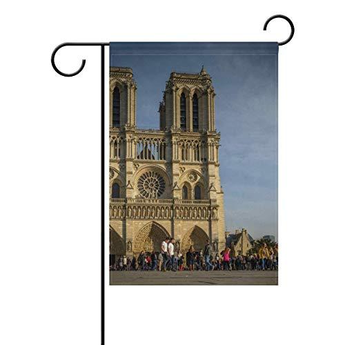Trista Bauer Drapeau de Drapeau de Notre Dame de Paris Ciel bannière Longue Polyester 12x18 Pouces