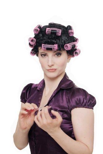 WIG ME UP ® - 4204-P103 Fasching Karneval Halloween Perücke Damenperücke Hausfrau Lockenwickler schwarz Trashy Drag Queen