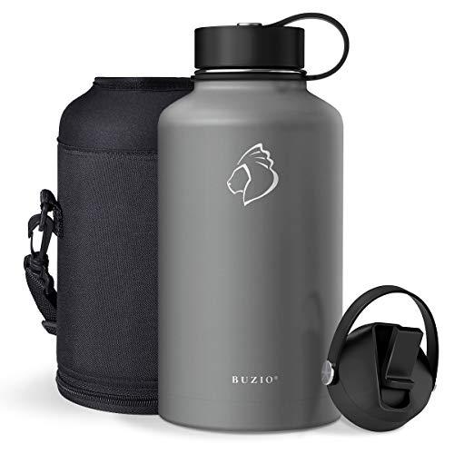 BUZIO roestvrijstalen waterfles (48 uur koud, 24 uur warm), vacuüm geïsoleerde fles van 1800 ml met rietjesdeksel en flexibele dop (dubbele wand, brede mond, BPA-vrij, lekvrij, zweetvrij)