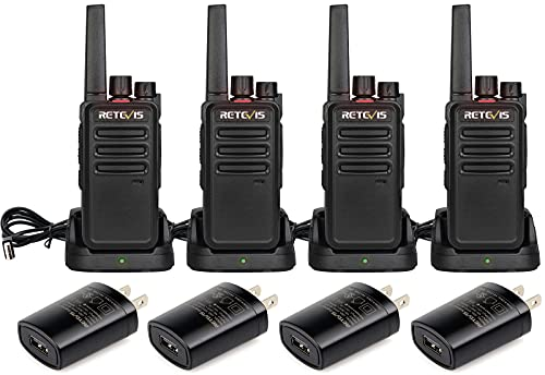 Retevis RT68 Walkie Talkies for Adults, 2 Way Radios Long Range, Portable, Hands Free, 1200mAh Li-ion Battery, Durable Walkie Talkie Rechargeable with USB Charging Base, for Camping Hunting (4 Pack)