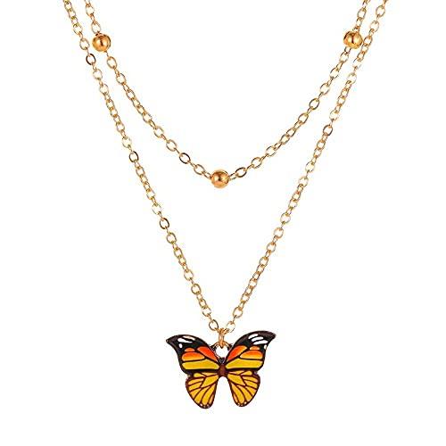 Collar De Mujer Mariposa Amarilla De Doble Capa para Mujer Colgante Vintage Collar De Mariposa Collar con Dijes Joyería Boho Regalo del Día De La Madre